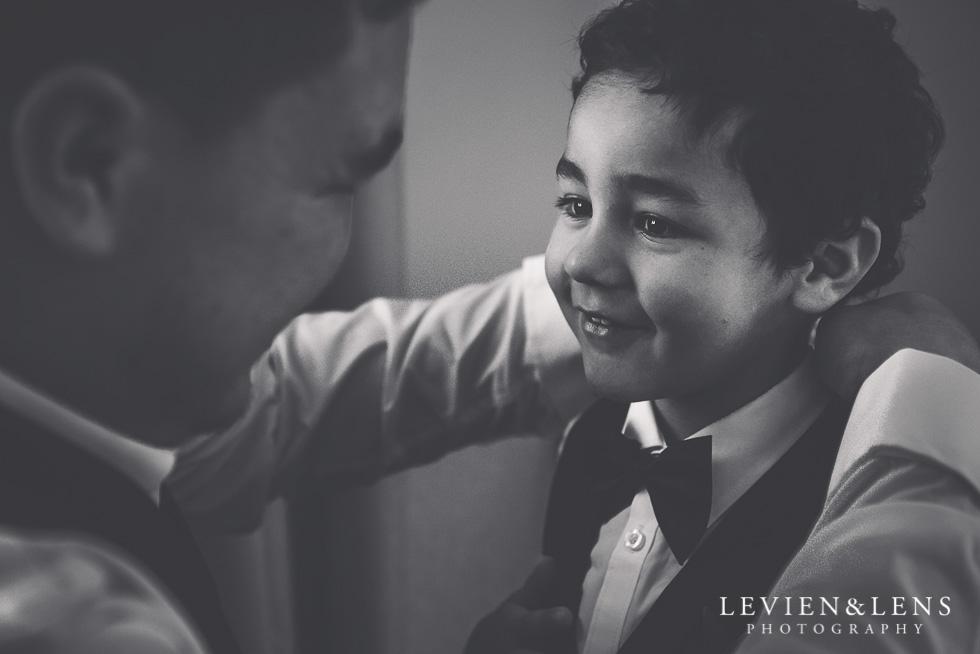 groom with boy - getting ready - NZ wedding photographer