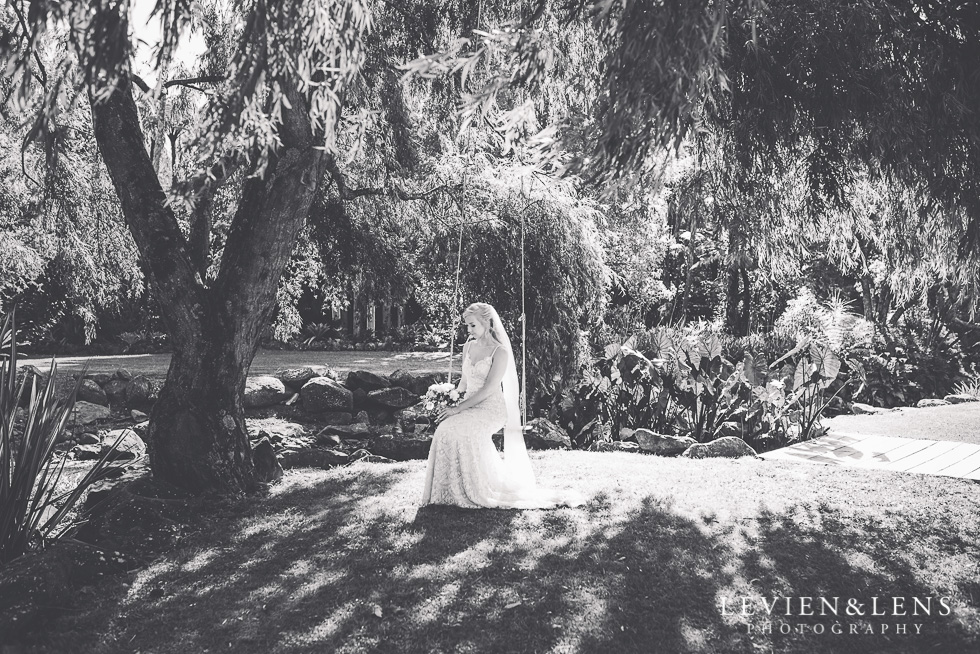 bridal portrait on swing - Liddington Gardens - Kerkeri Northland {NZ destination wedding photographer}