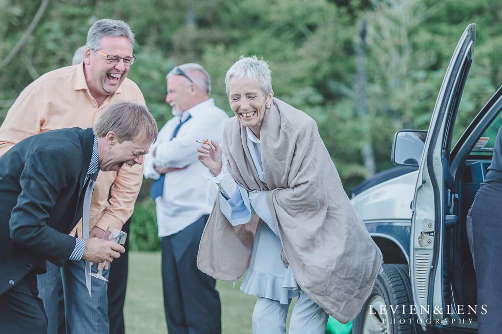 guests laughing - Liddington Gardens - Kerkeri Northland {NZ destination wedding photographer}
