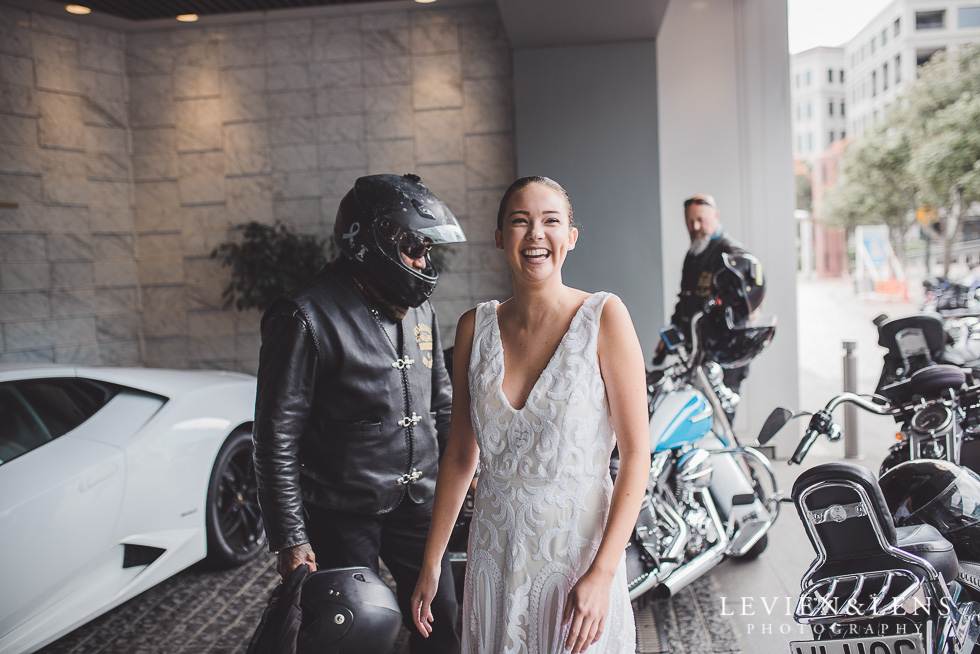 bikes and dress - Trish Peng Christmas Bridal High Tea - Sofitel Viaduct Hotel {Auckland wedding photographer}
