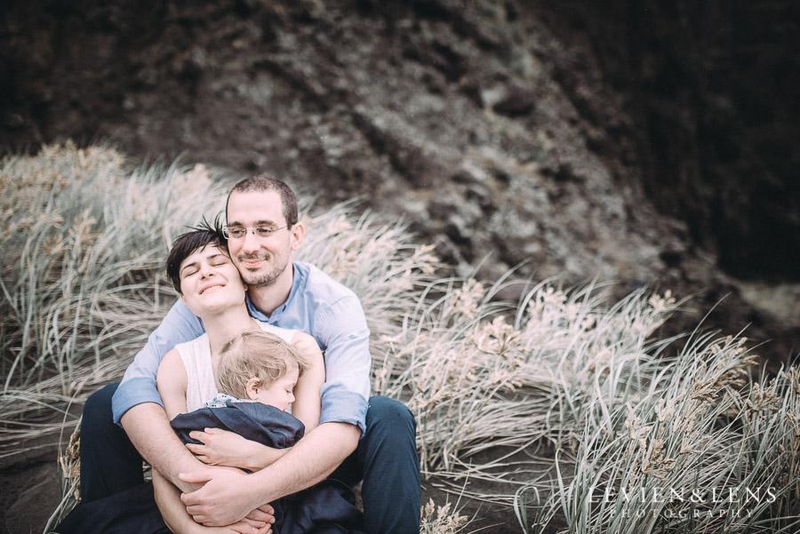 tender moment - Karekare Beach post-wedding | elopement photo shoot {Auckland NZ couples-weddings photographer}