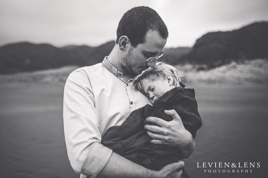 father and child - Karekare Beach post-wedding | elopement photo shoot {Auckland NZ couples-weddings photographer}
