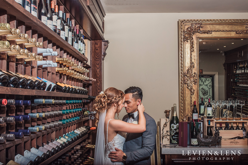 bride and groom at wine cellar