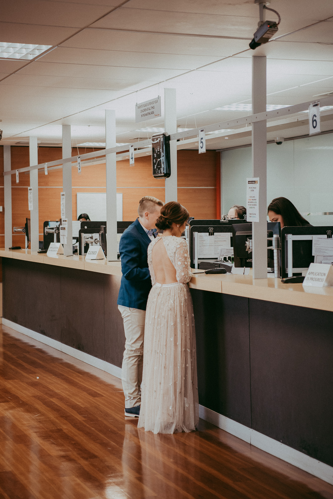 couple at register office {Auckland wedding photographer}
