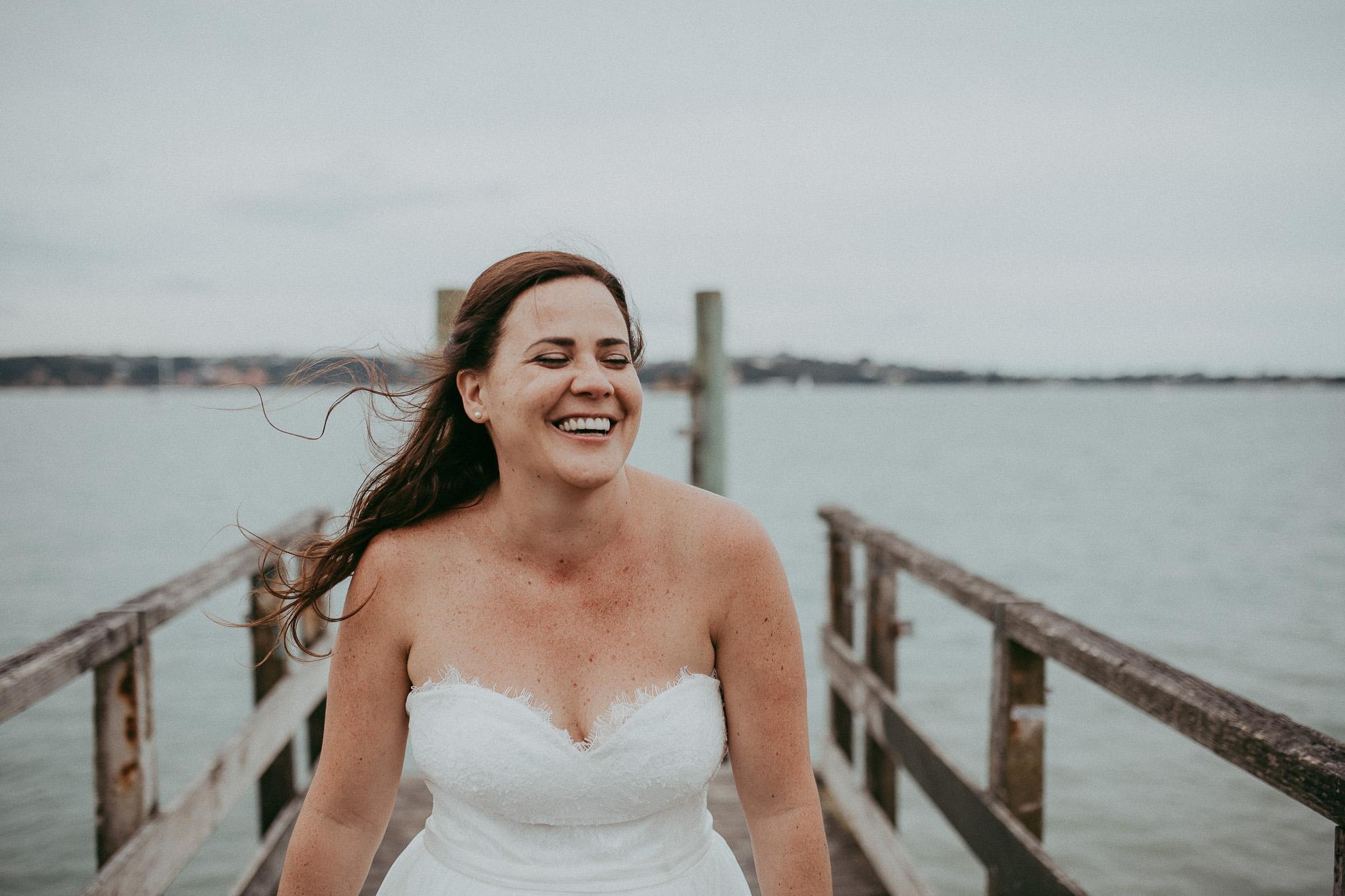 Pier Auckland City wedding - candid documentary first weddings photographers