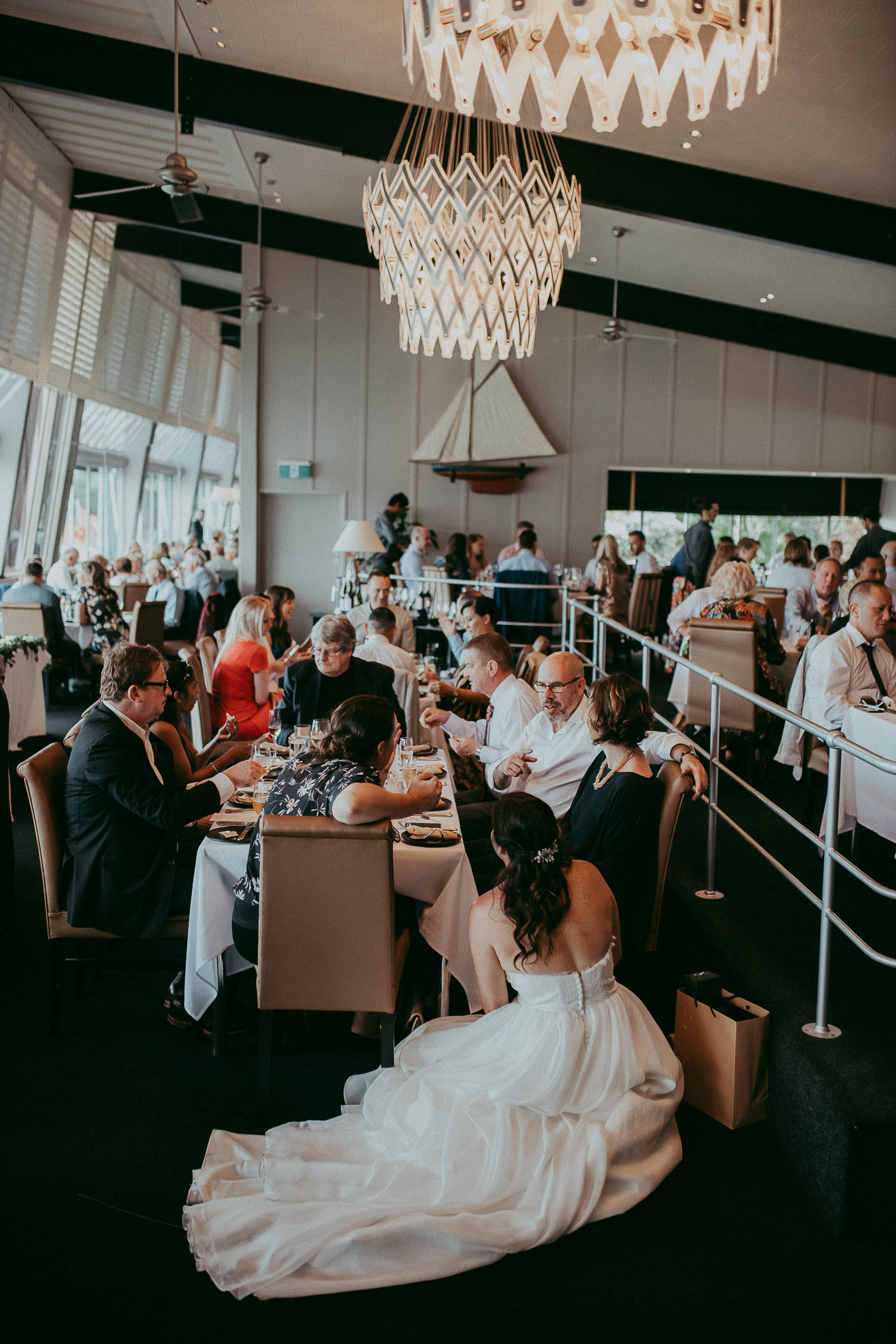 bride with guests at reception {New Zealand wedding-elopement photographer}