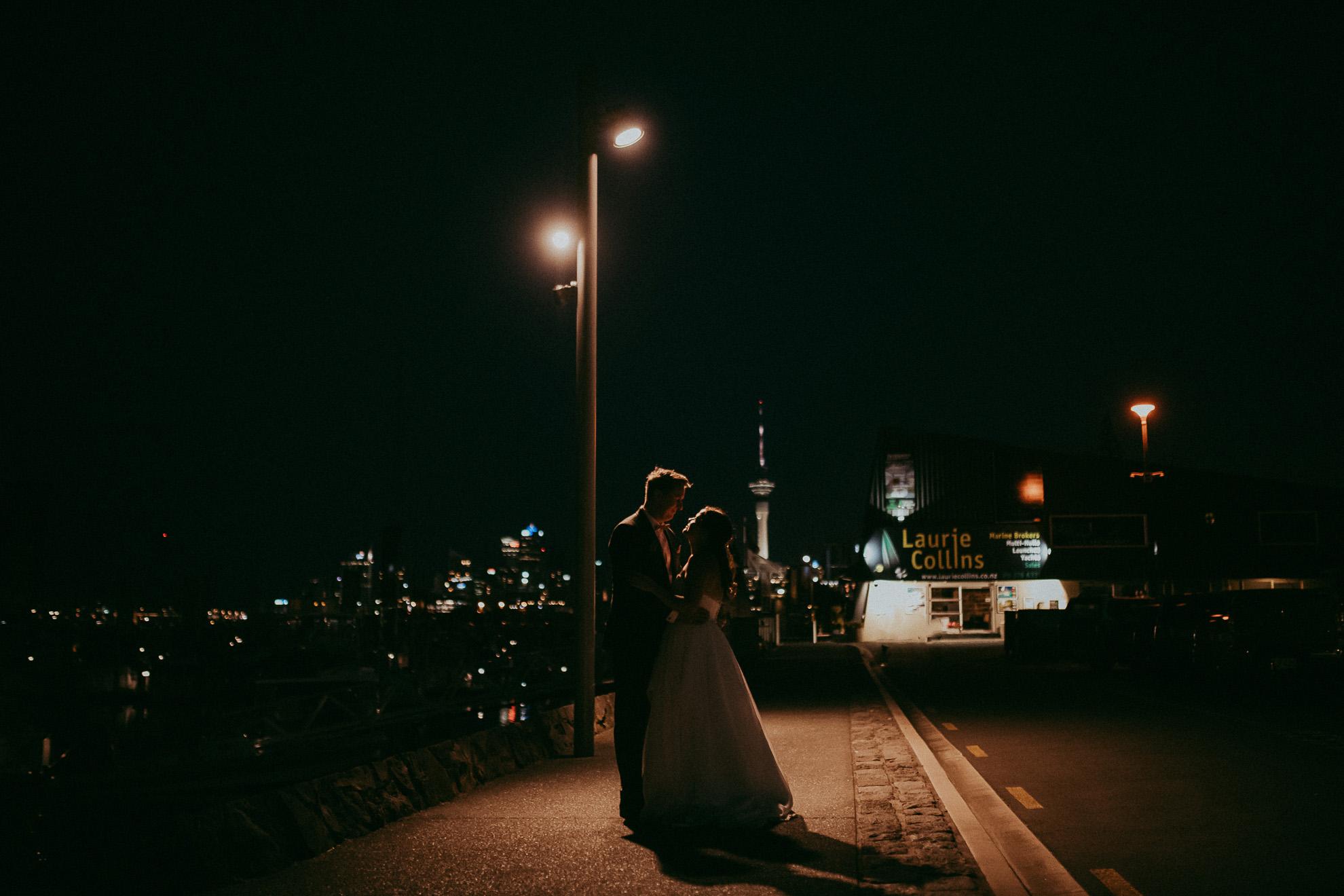 Night wedding photography - near Auckland City - Sails - New Zealand weddings photographers