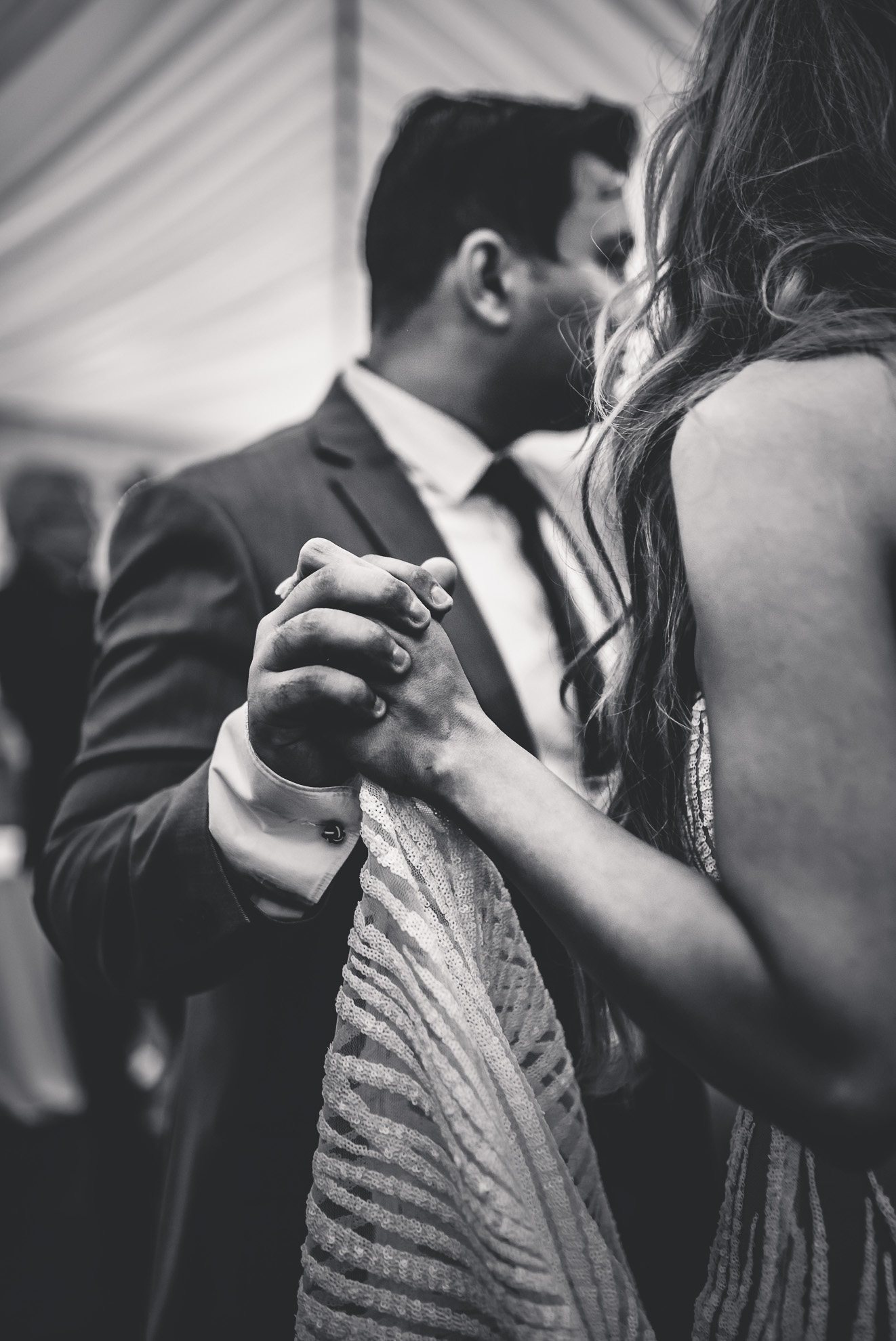 bride and groom dance - black and white photo {Auckland wedding photographers}