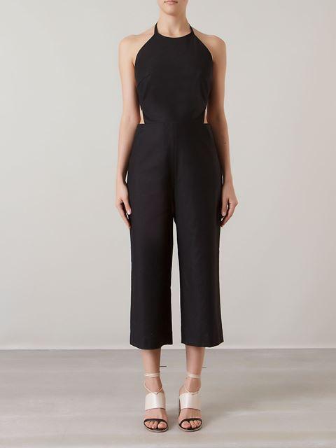 ANDREA MARQUES cut out details side slim pocket jumpsuit