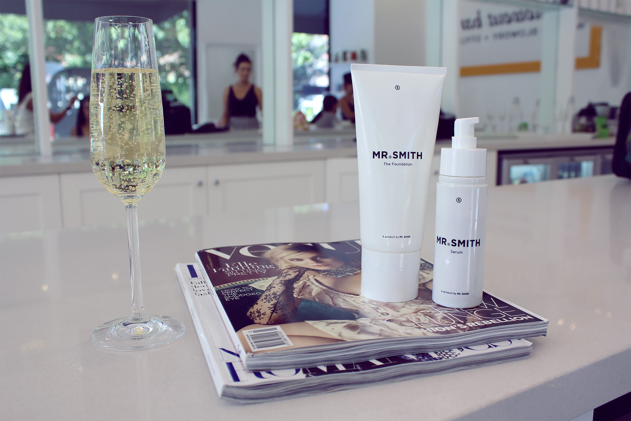 The perfect way to relax before the bachelorette party: bubbles and a fresh blow out at  The Blowout Bar, Toorak