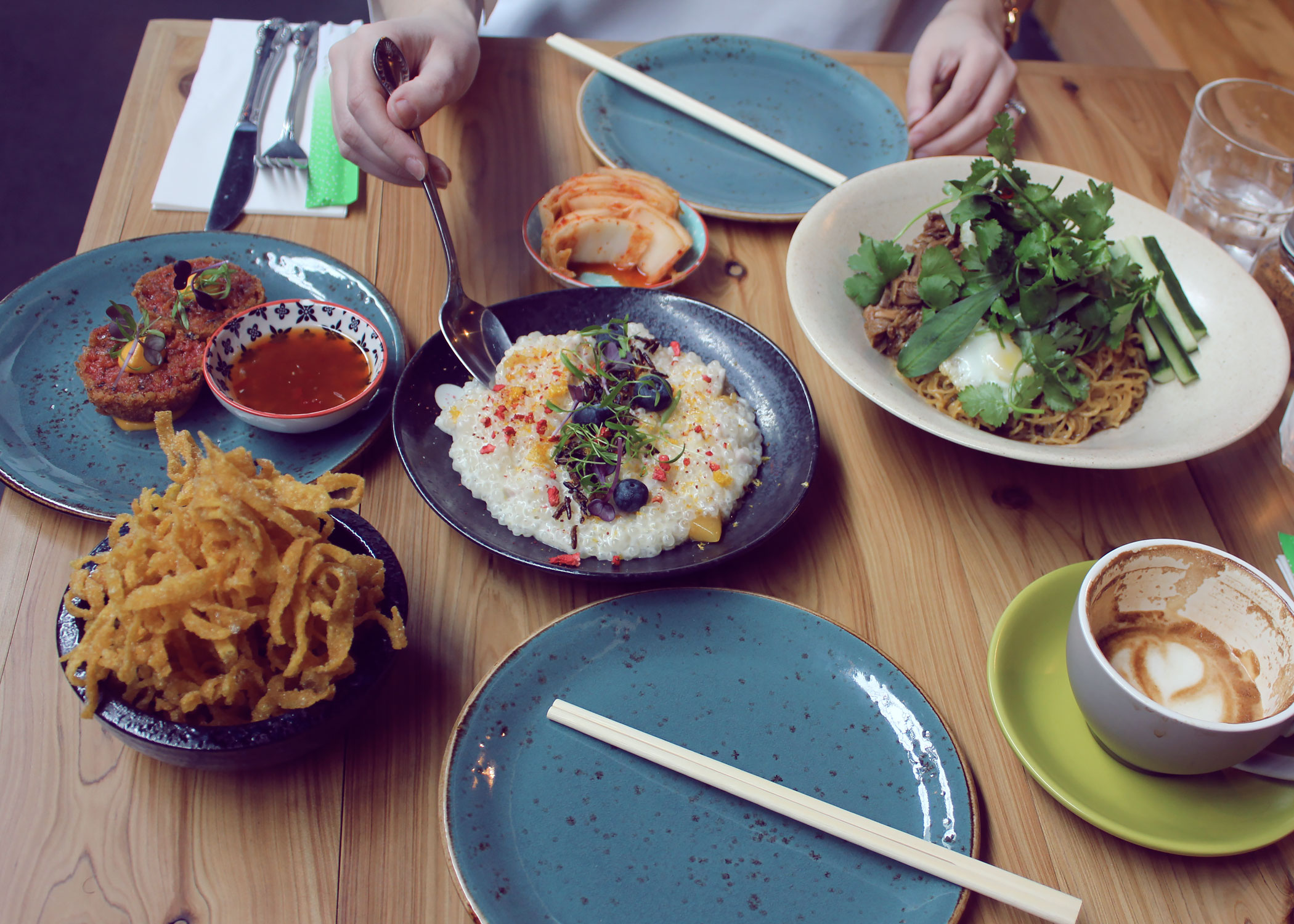 Wonton fries, Lup Cheong & Beetroot arancini, Master stock shredded duck egg noodles with kimchi and warm sago pudding
