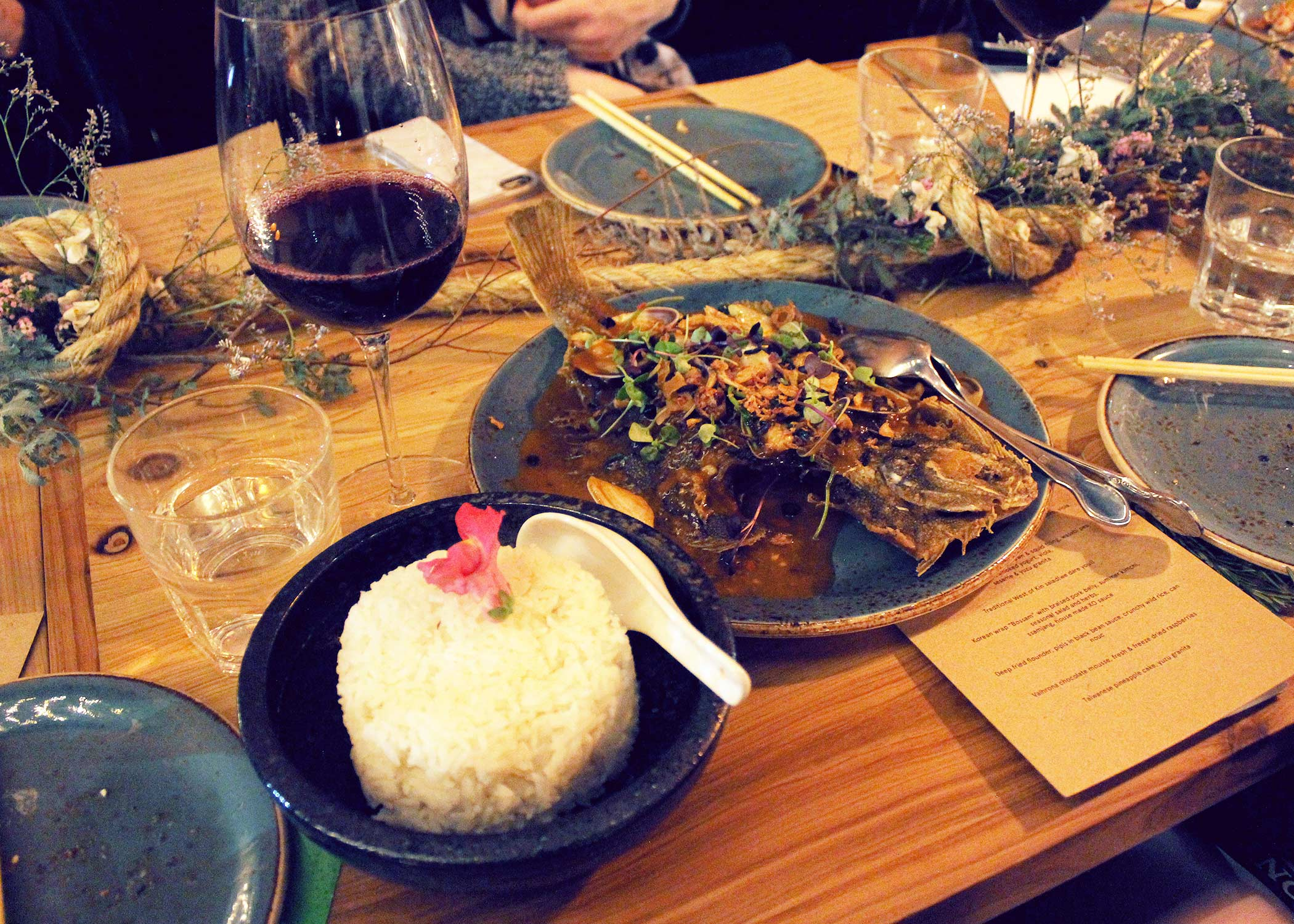 Deep fried flounder, pipis in black bean sauce, crunchy wild rice, can nouc