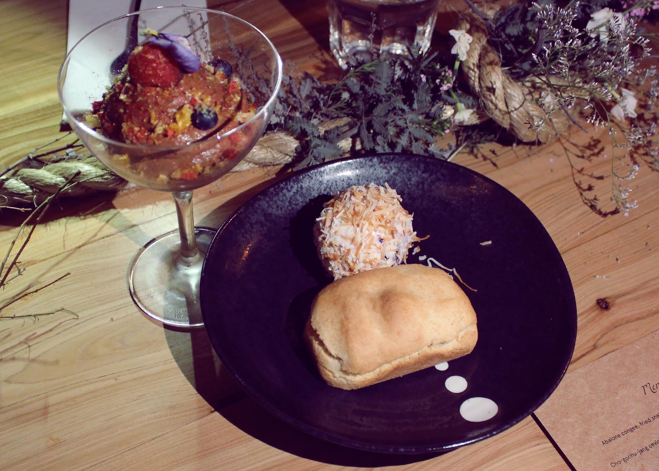 Valhrona chocolate mousse, fresh & freeze dried raspberries + Taiwanese pineapple cake, yuzu granita.
