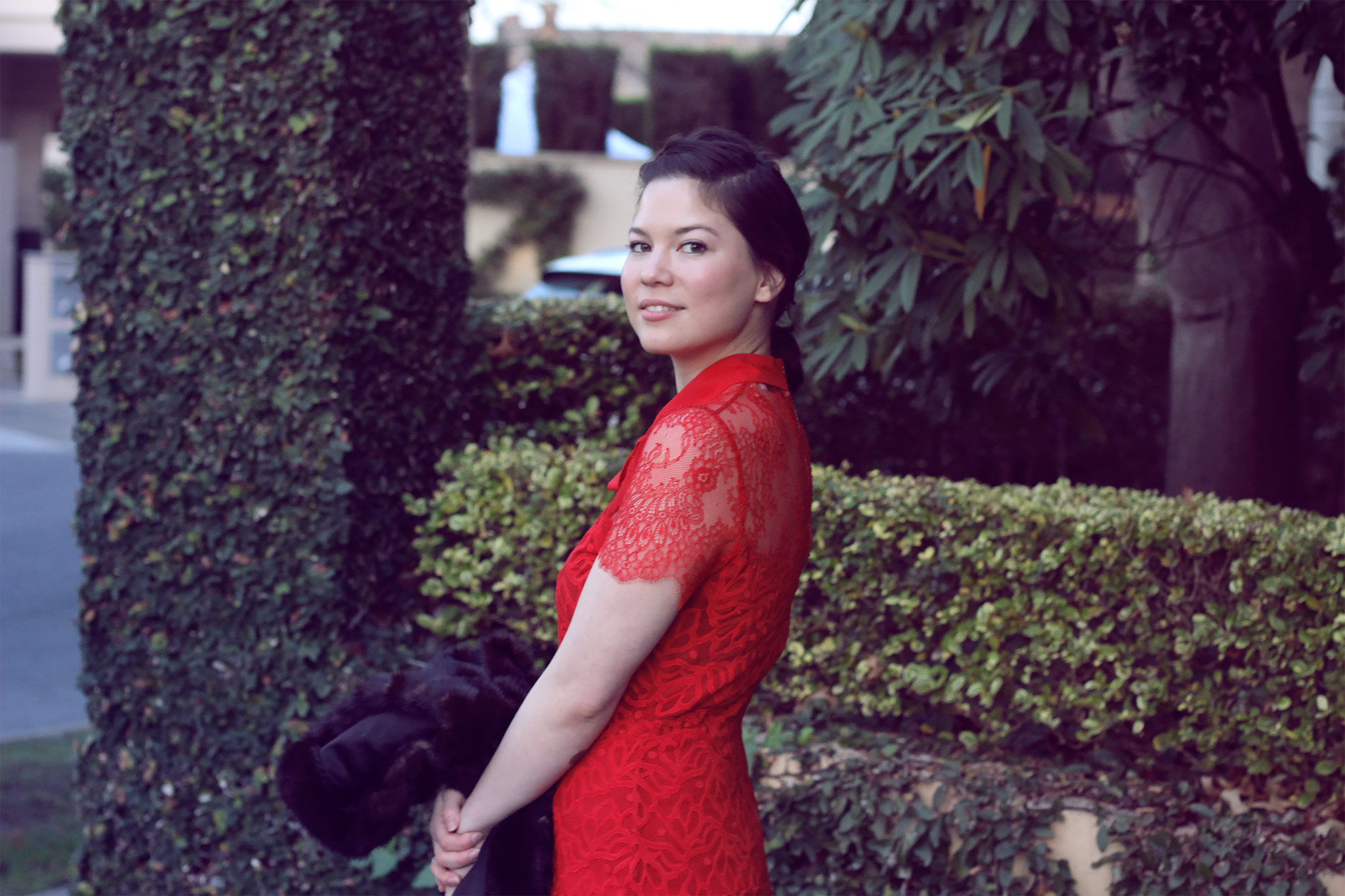 Sandro Dress Winter Wedding Styling Outfit Blogger