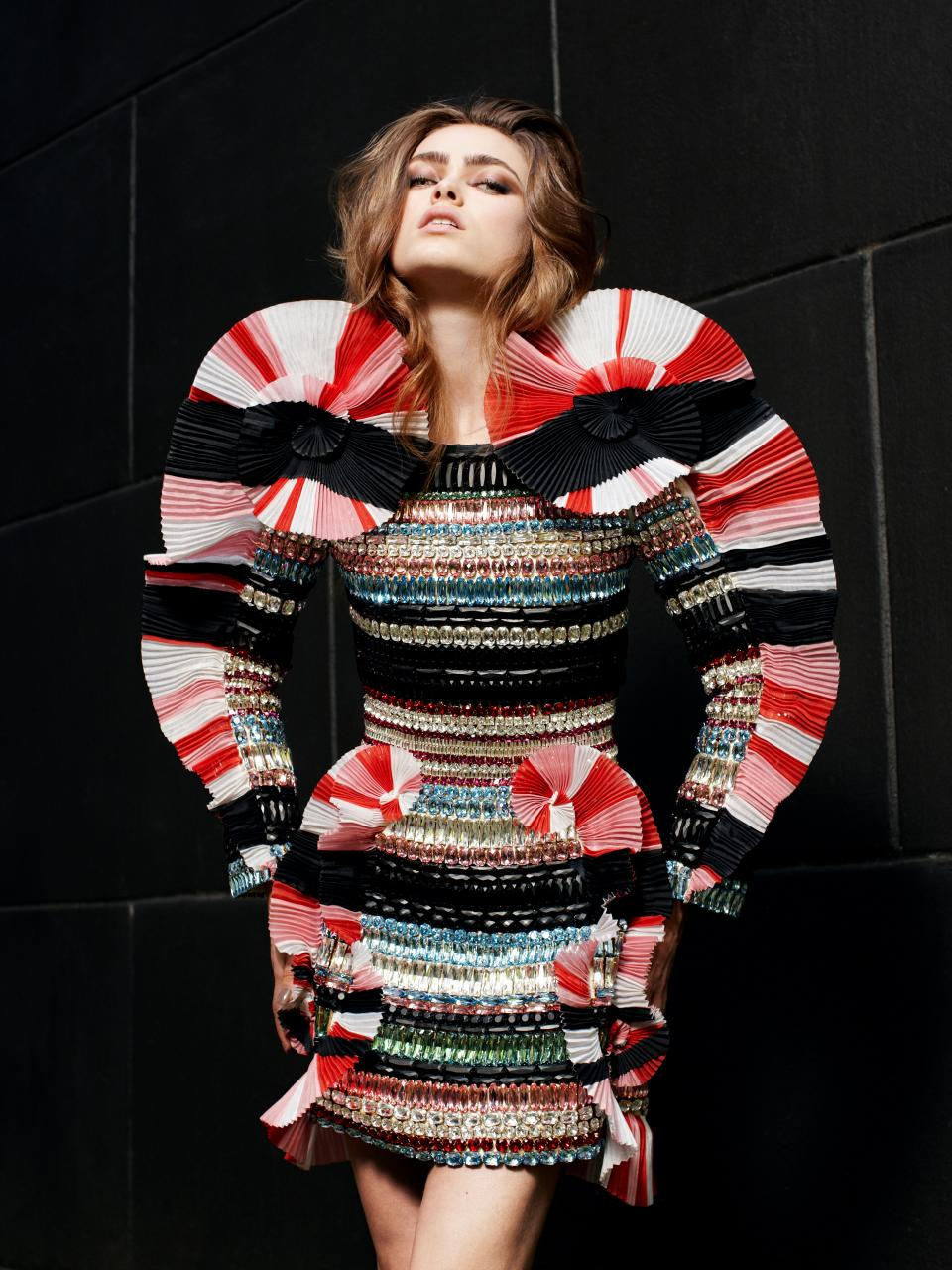 Barrie Hullegie  published in  Glamcult , December 2010 Viktor&Rolf,  Shalom  ready-to-wear collection, spring 2009 3D sculptural dress with textured stripes embroidered with Swarovski crystals © Barrie Hullegie