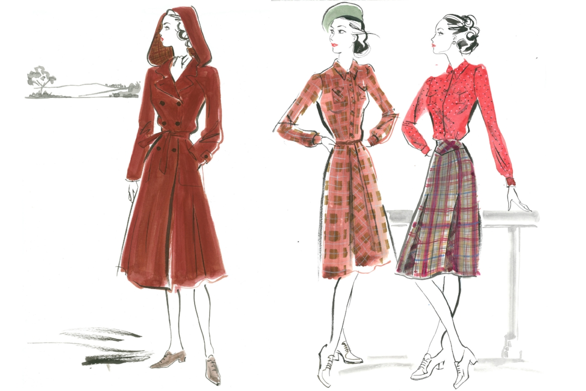 Costume sketches for Allied.   Illustration by Jacqueline Bissett/Costumes Design by Joanna Johnston