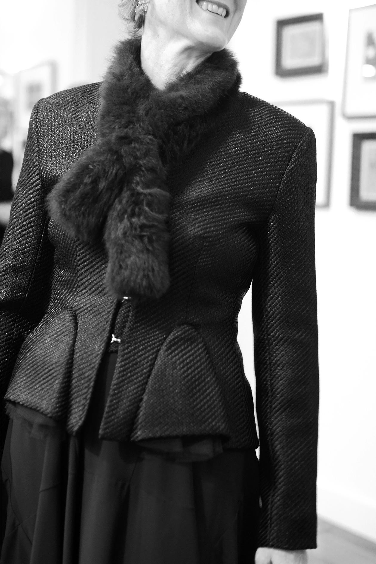 Milliner Louise Macdonald  modelling a Julie Goodwin blazer.Photo: Lei Lady Lei