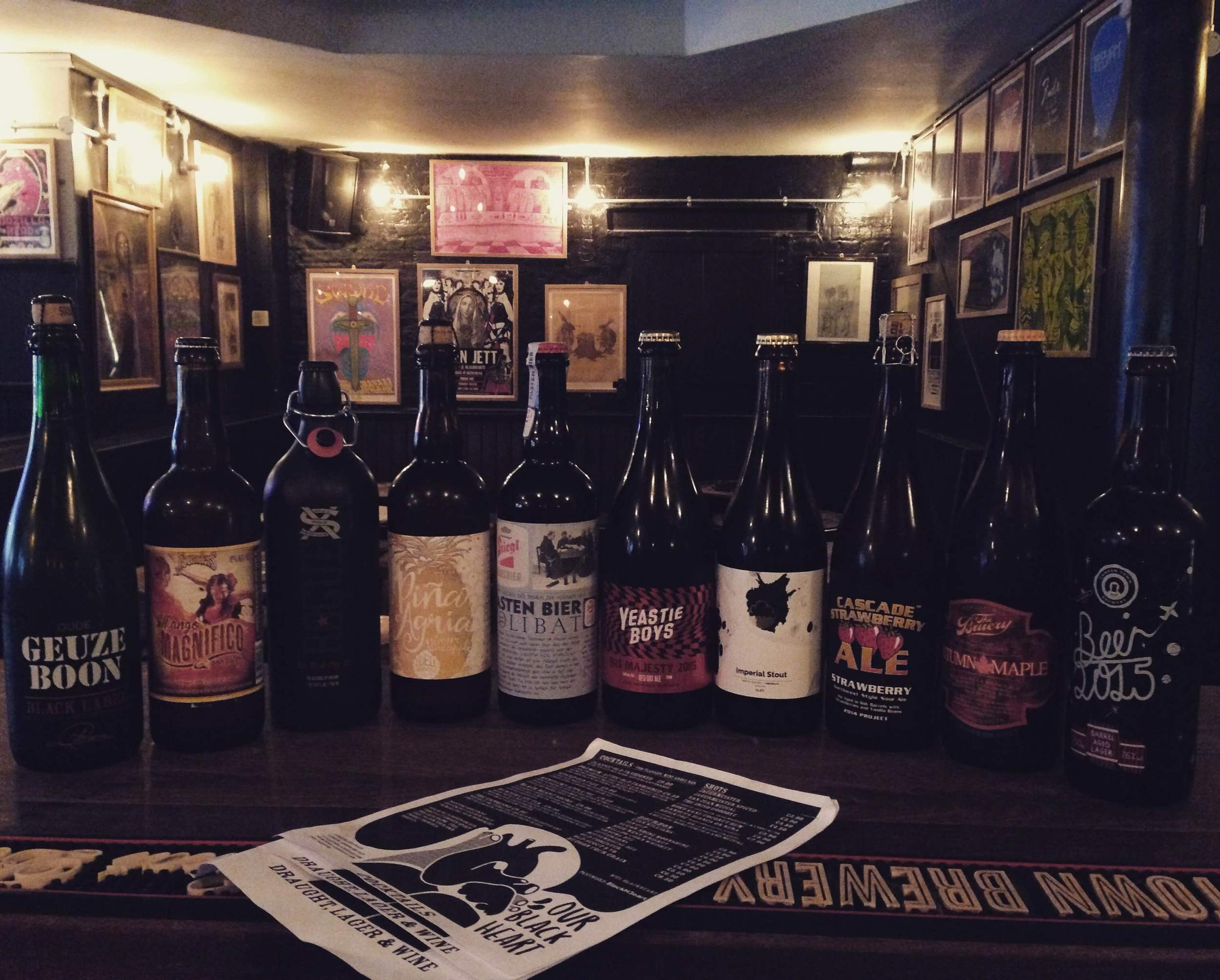 �Oude Geuze Black Label by Boon is a gueuze �Mango Magnifico by Founders is a mango ale with a hint of habanero �XS Dead Guy Ale by Rogue �Piña Agria by Odell is a pineapple sour beer �Zolibat by Stiegl is a German beer �His Majesty by Yeastie Boys is a red oat ale �Hibernate by Cloudwater Brewery is an imperial stout �Strawberry Ale by Cascade is a strawberry sour ale �Autumn Maple by The Bruery is a Belgian style brown ale �Beer 2015! by Camden Town Brewery is a barrel aged lager