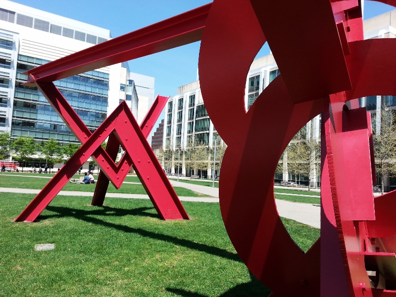 sculpture:  aesop's fables, II      by mark di suvero,      at MIT  (sonya kovacic)