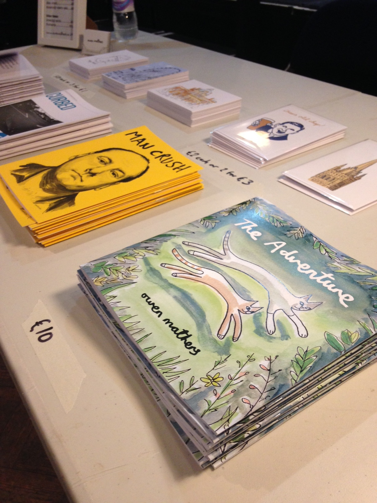 Zines, postcards and my picture book.