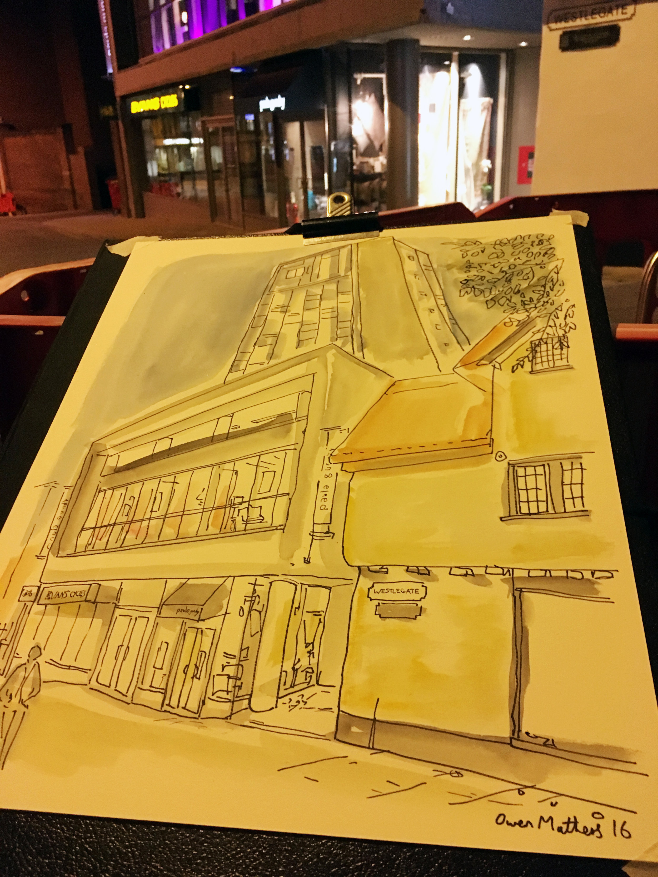 Westlegate, night time drawing. I wanted to show the contrast here of the thatched roof building (only one in city centre I believe, next to the luxury new block of flats)