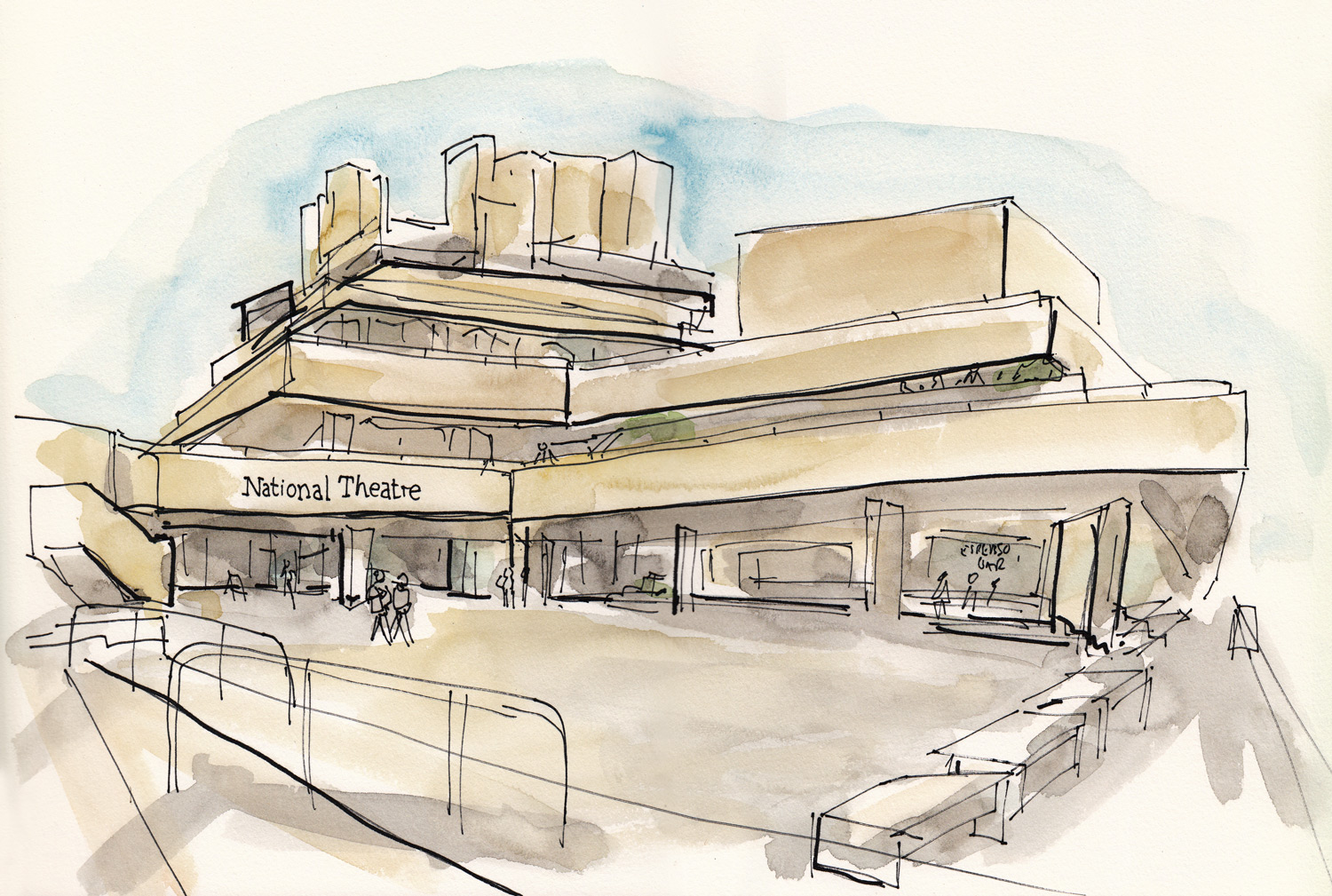 I've become a big fan of brutalist architecture over recent years. I love the shapes and spaces created.The National Theatre on Southbank is a great example. Fun to draw!