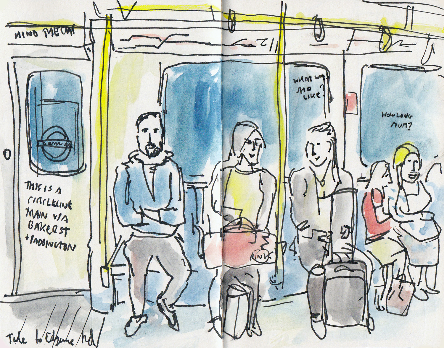 Drawing on the tube was what got me started on my drawing obsession. So many subjects and you never know when they will get off!