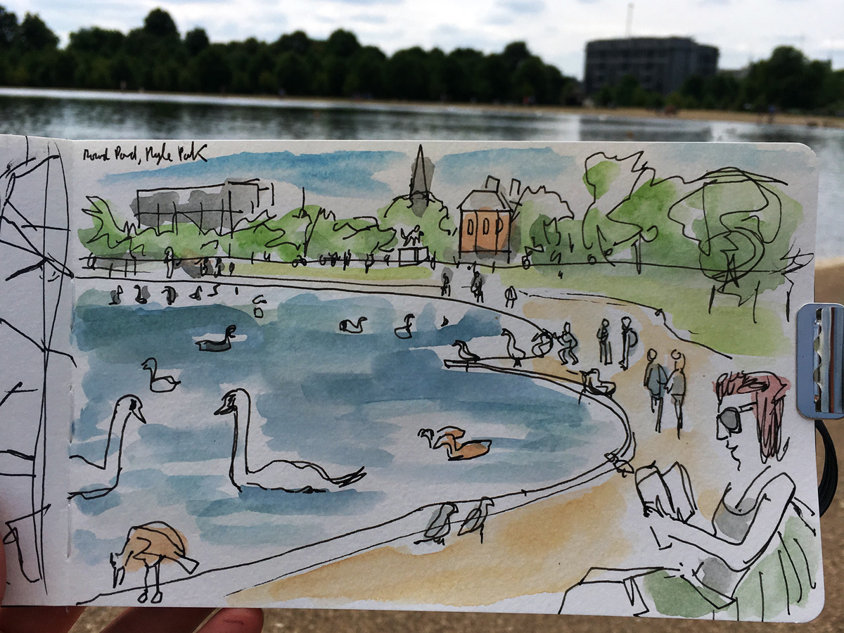 The round pond at Hyde Park was somewhere I used to like visiting. Seeing all the ducks and swans getting fed. Although I remember it in the freezing winter, which was quite the contrast of the baking heat when I drew this.