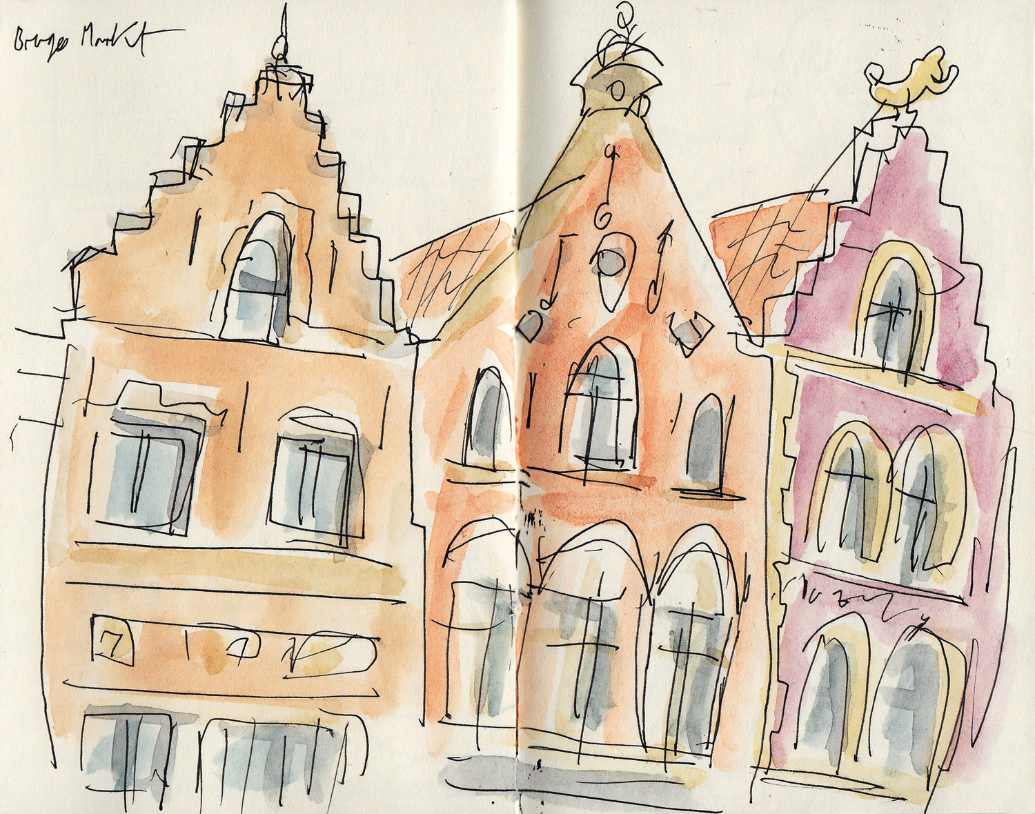 Some of the building facades on the Markt Square, drawn quickly one eve whilst my hands still worked in the cold!