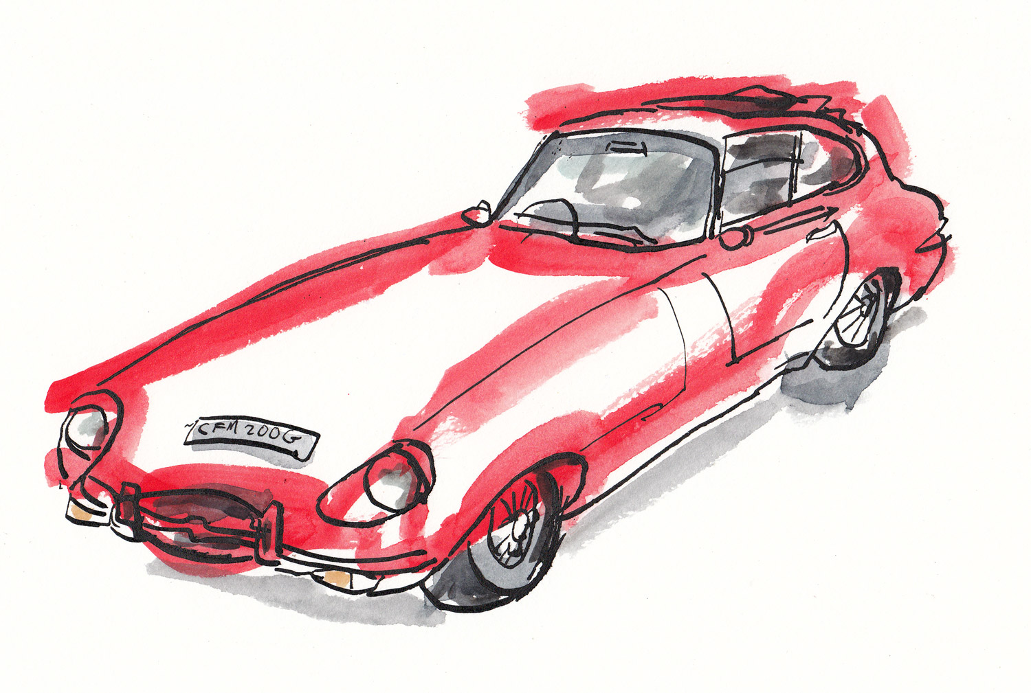 "A nice E-Type Jaguar, drawn as quickly as possible in between the crowds. ""Am I in your way?"" – ""No, that's ok I can look over you!"" – if you are the owner or know the owner get in touch as I should of got your details to post this to you!"