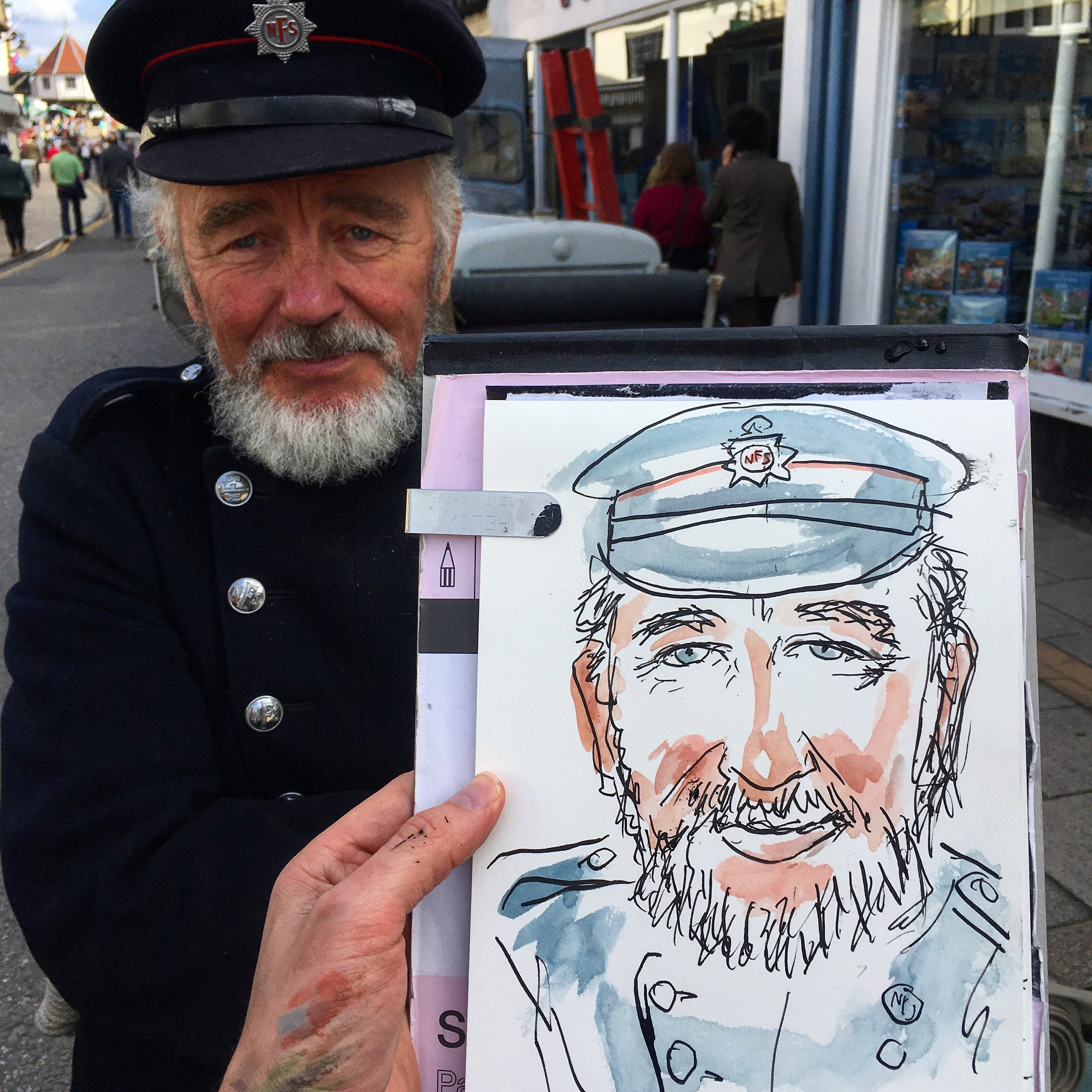 Chris Bonnick, a volunteer for the National Fire Museum as drawn on location.