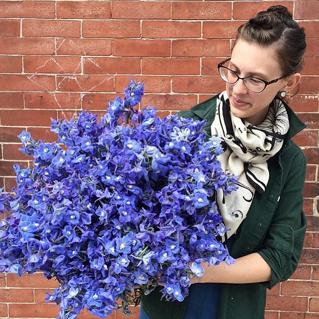 This is just one of the many armfuls of delphinium that came into the shop for the big blue wedding.  Pictured here are 150 stems, out of a total 1,200 that were ordered.  There is no filter on this photo - the blooms truly are this vibrant.
