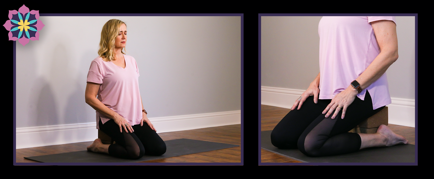 Stacy DiGregorio sitting on a bolster to meditate— Tampa Bay, FL.
