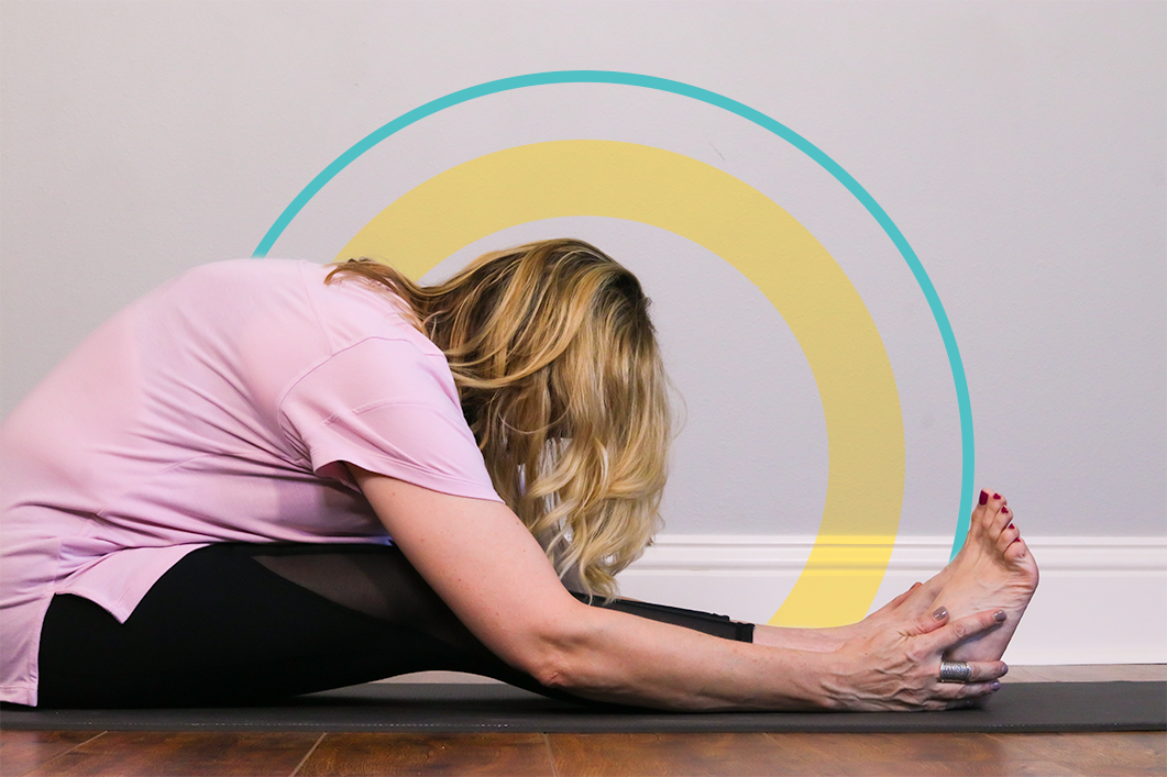 This is a great stretch for your lower back… also, isn't the wood floor in my studio gorgeous?
