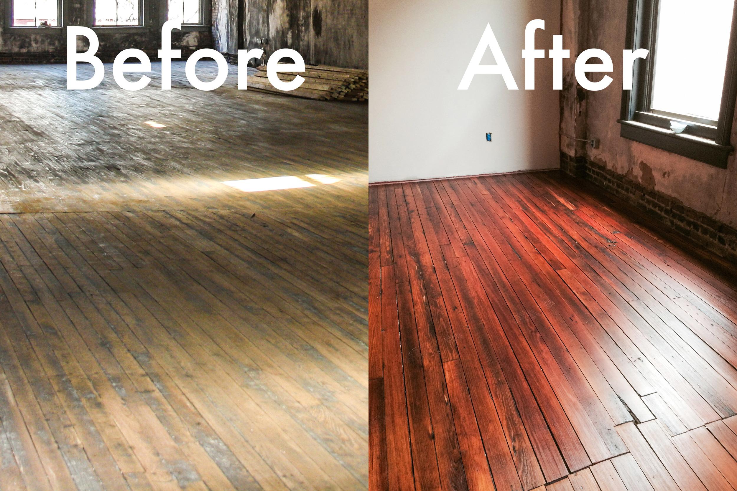 Historic Heart Pine Wood floors at The Lamar