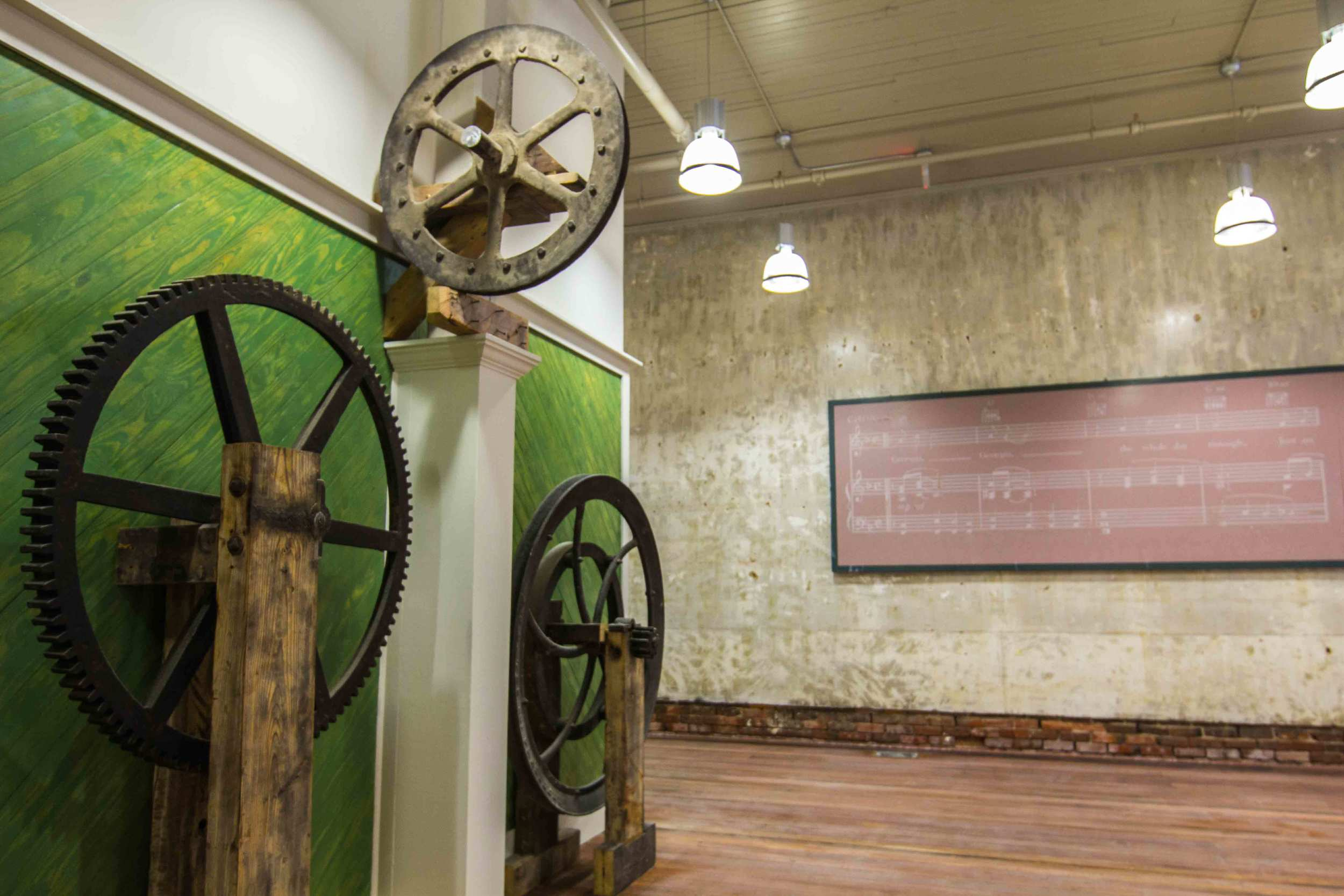 Historic gears in the lobby