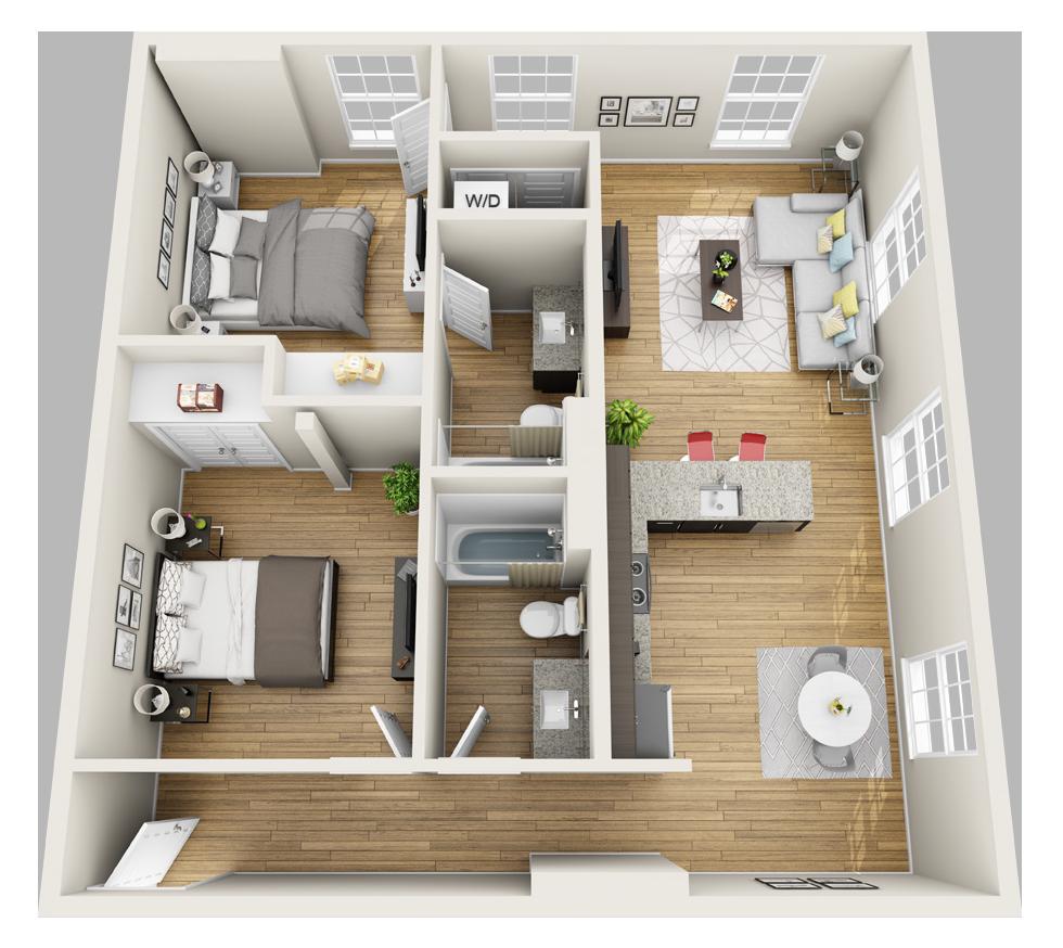 Magnolia Loft 3D Floor Plan