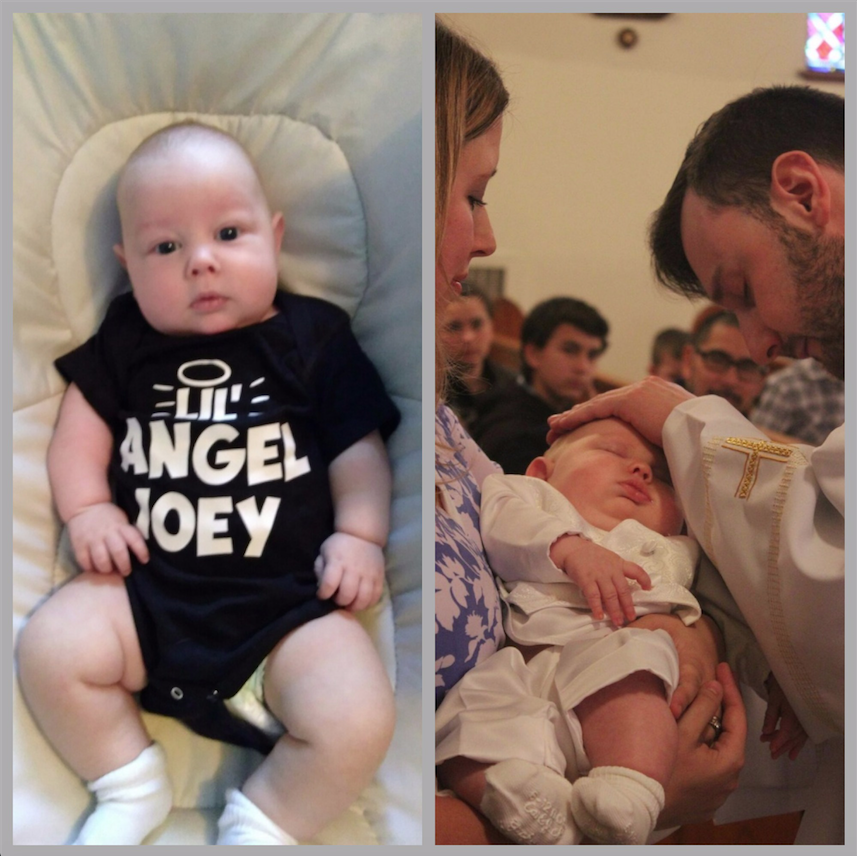 Lil' Angel Joey chillaxin in his onesie...and at his baptism.