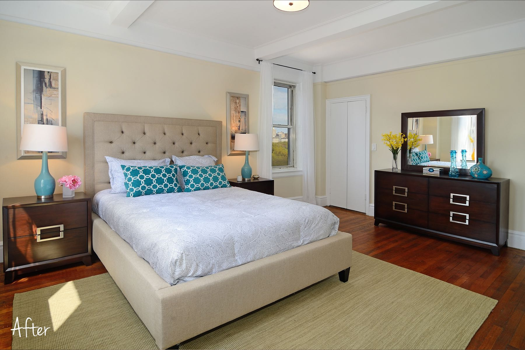 The Master Bedroom feels large and airy.