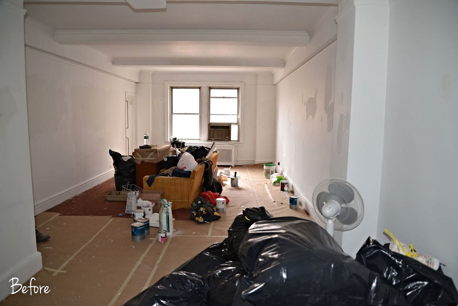 Before shot.  The living room when staging began.