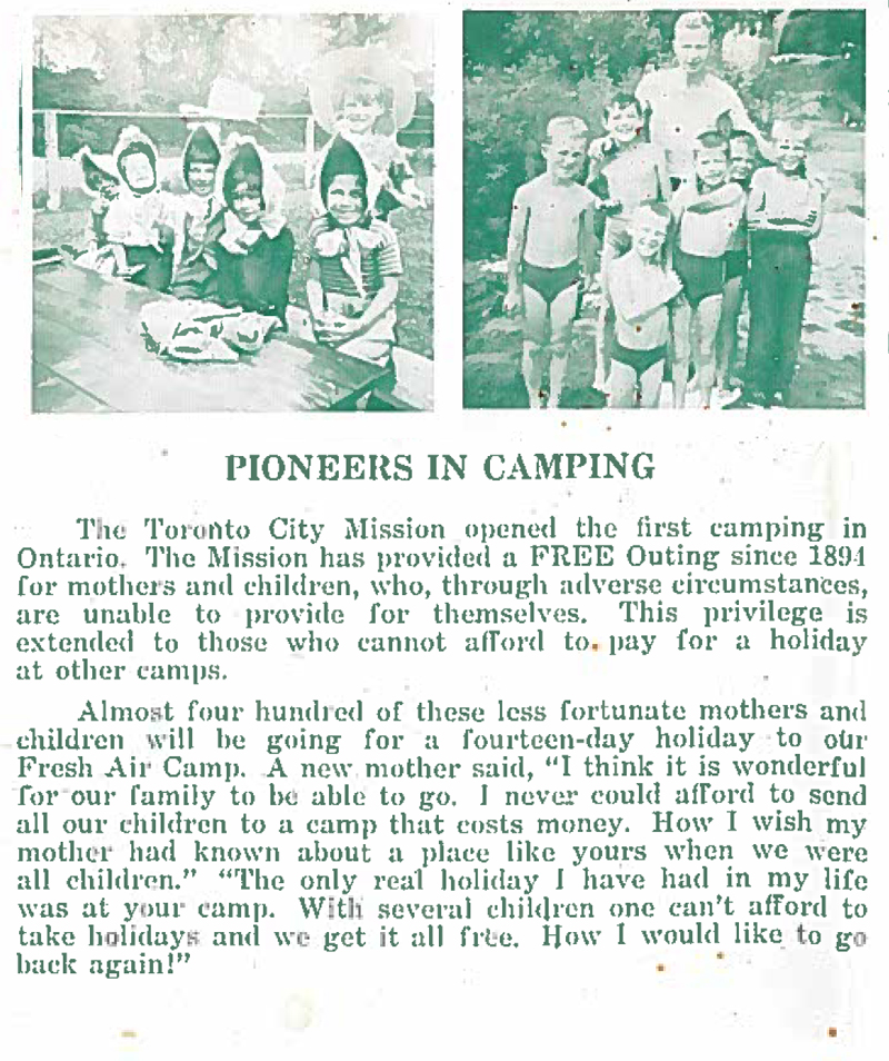 TCM offered camp for mothers and children since 1891. Click to enlarge