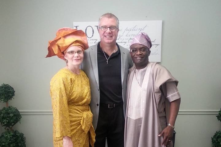Dave with Marian Adeboboye and Dr. Tai, pastor at Wilmar Heights