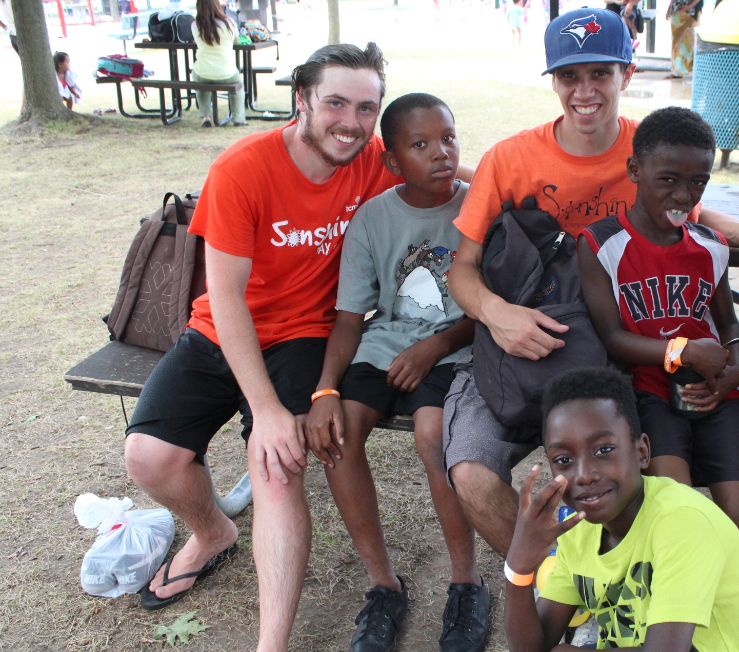 Fraser (far left), with kids from last year's Sonshine Day Camp at Willowtree.