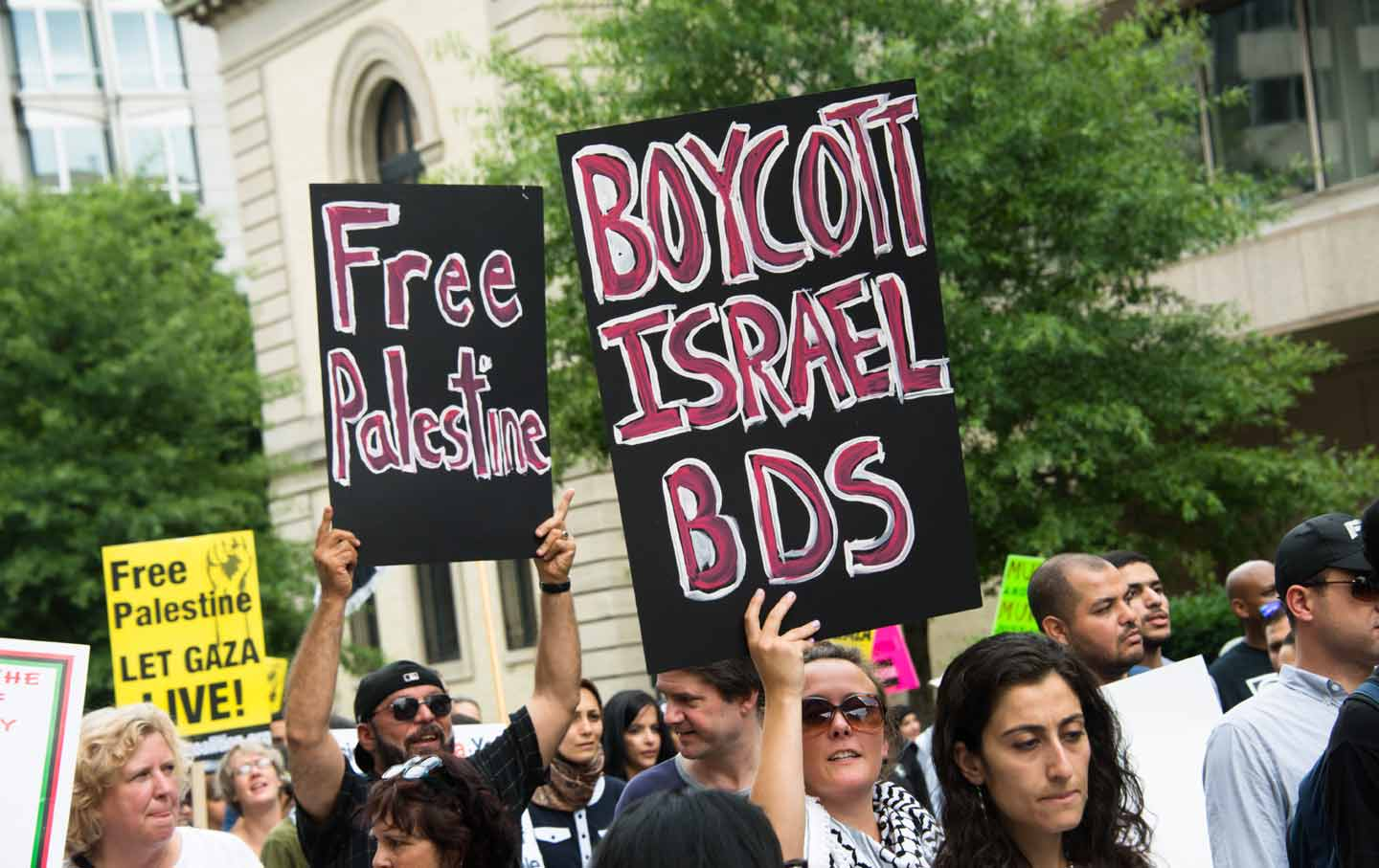 Some 10,000 demonstrators march on the White House in Washington, DC, to protest Israel's offensive in Gaza, August 2, 2014.   (Ryan Rodrick Beiler / Shutterstock.com)