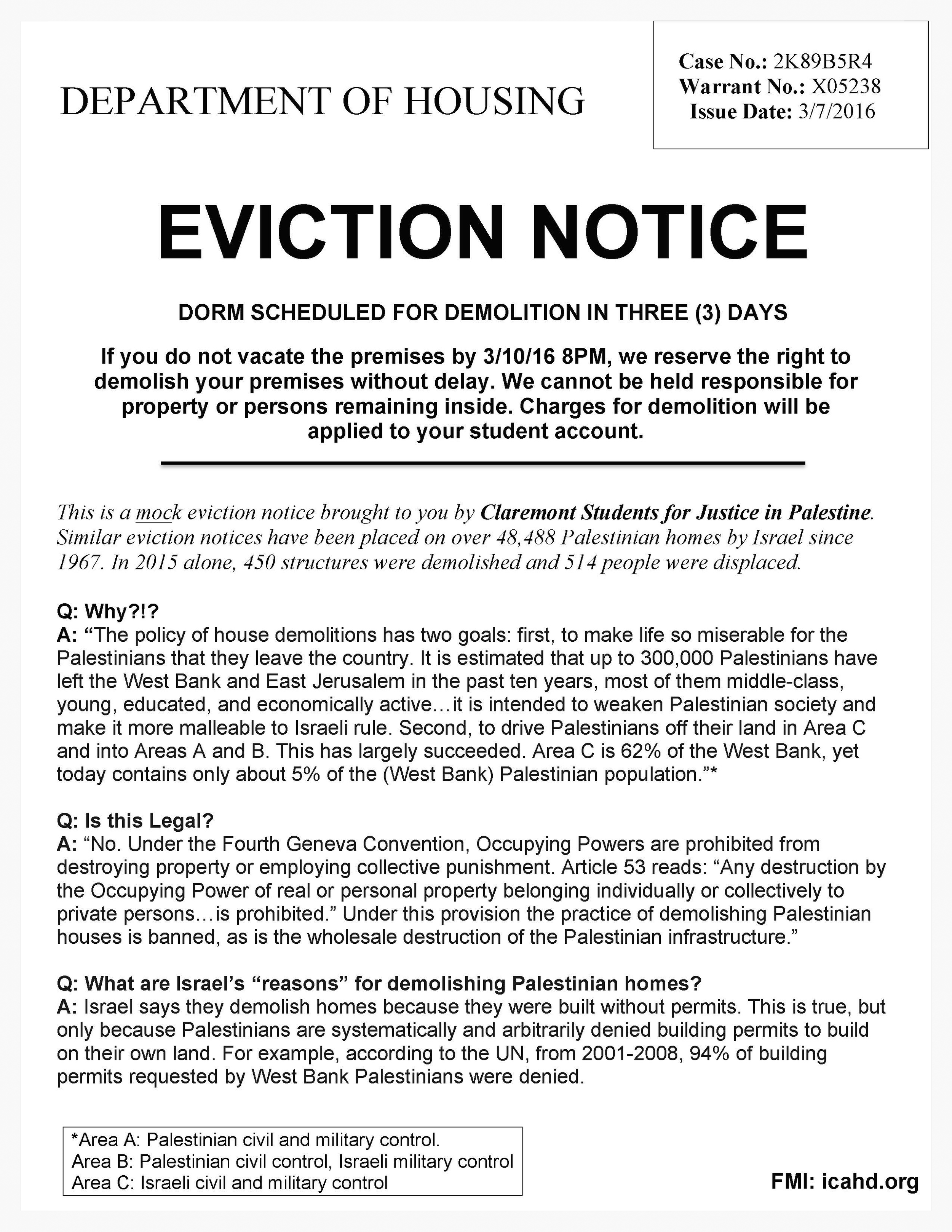 "Mock ""eviction"" flyer distributed at claremont colleges"