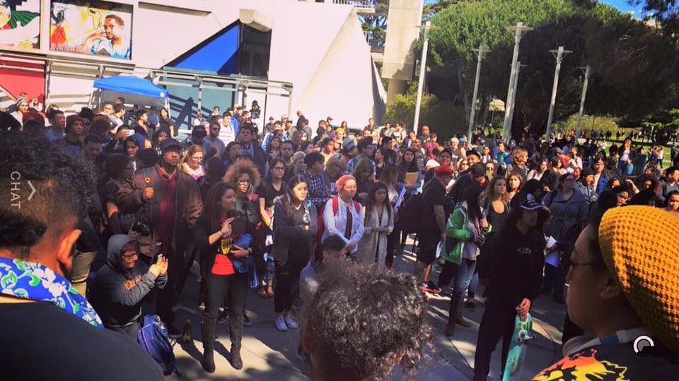 Students gather at SFSU. Credit:  GUPS Facebook