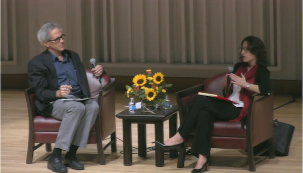 """Dima Khalidi speaking after Kenneth Marcus at """"Real Talk"""" conference."""