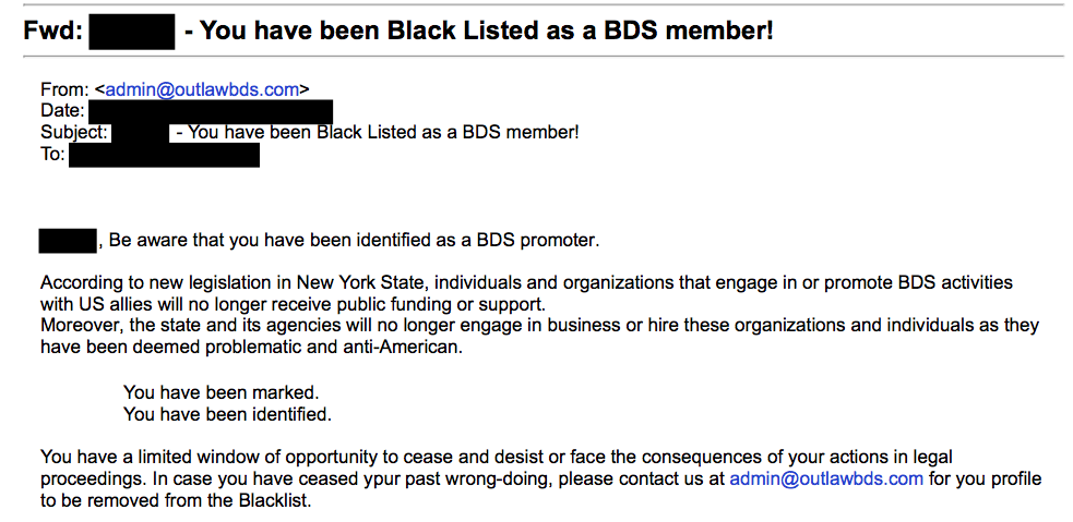 """An email sent from a group called """"Outlaw BDS New York"""" threatens recipients with """"legal proceedings"""" if they do not """"cease and desist"""" from supporting BDS."""
