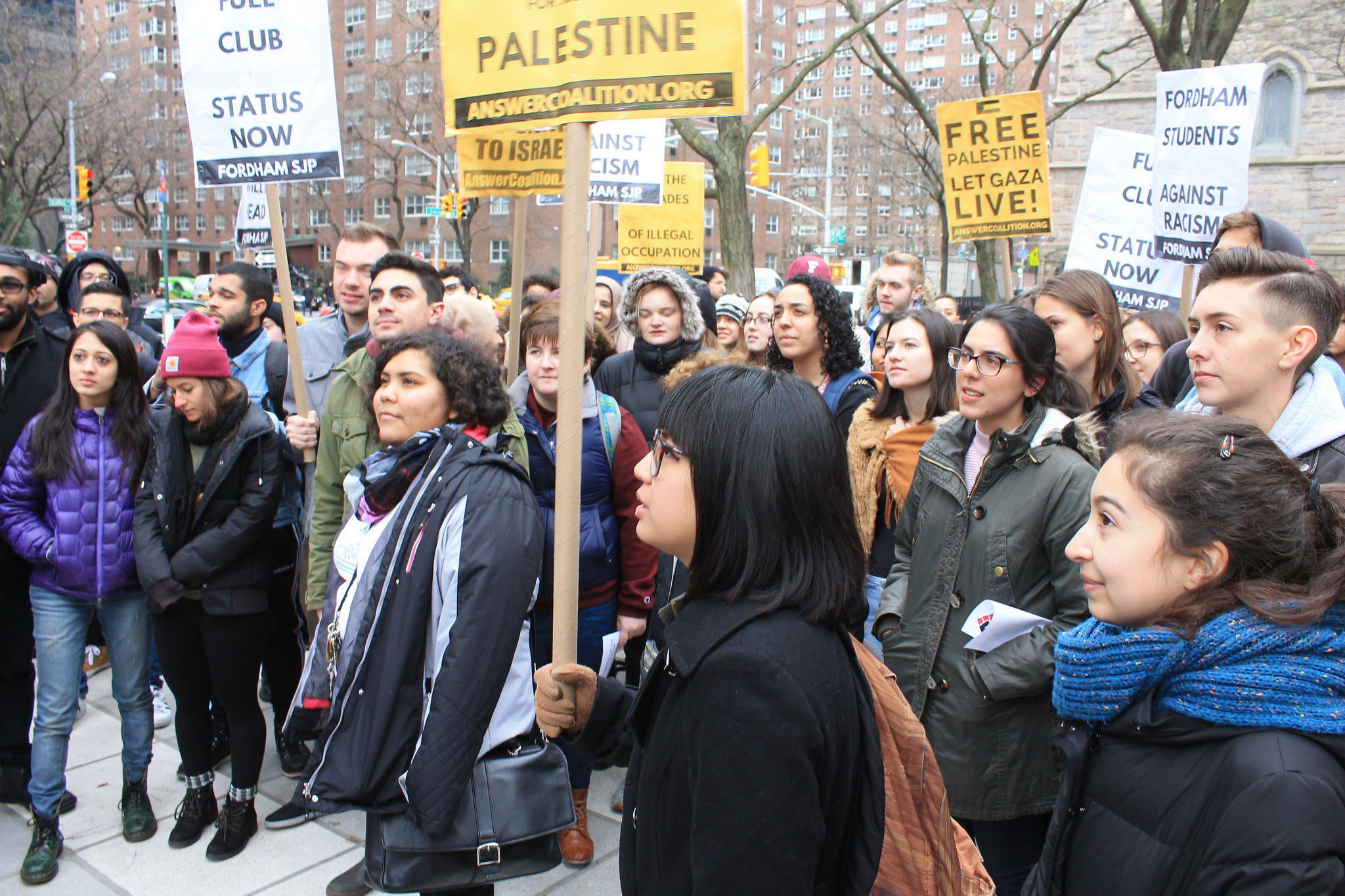 Sofia Dadap, one of the Fordham petitioners, protests the SJP ban in January 2017. Photo: Joe Catron