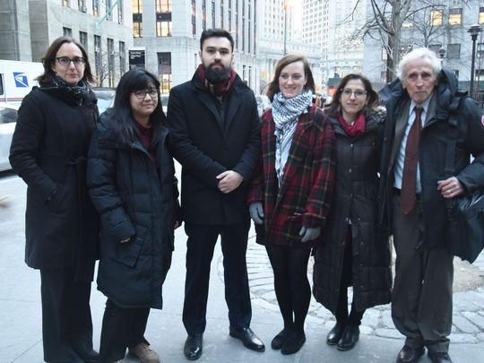 From left to right: CCR Deputy Legal Director Maria LaHood, petitioner Sofia Dadap, petitioner Ahmad Awad, petitioner Julie Norris, Palestine Legal Director Dima Khalidi, Cooperating Counsel Alan Levine. Photo:Viorel Florescu/northjersey.com
